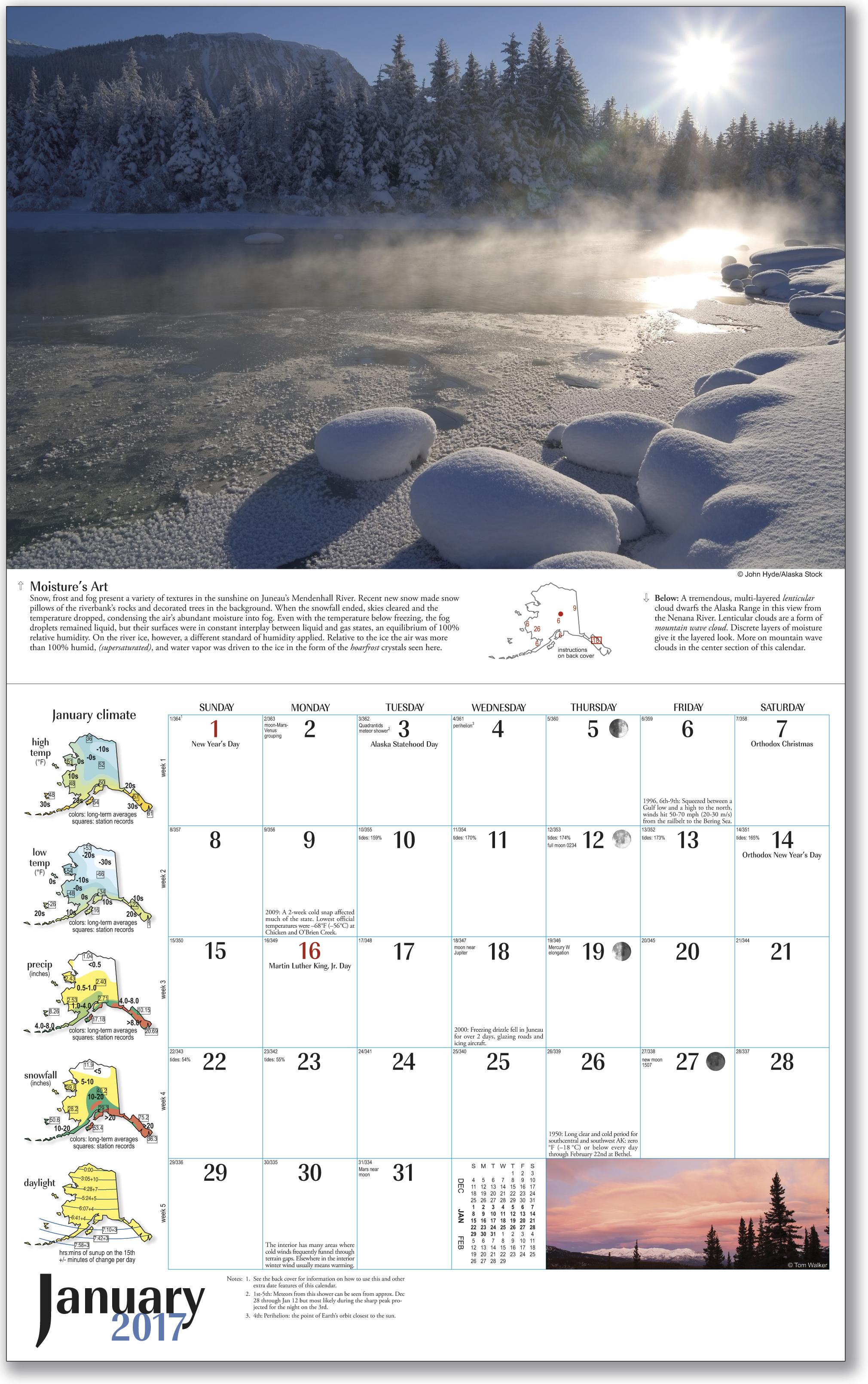 2017 Alaska Weather Calendar inside