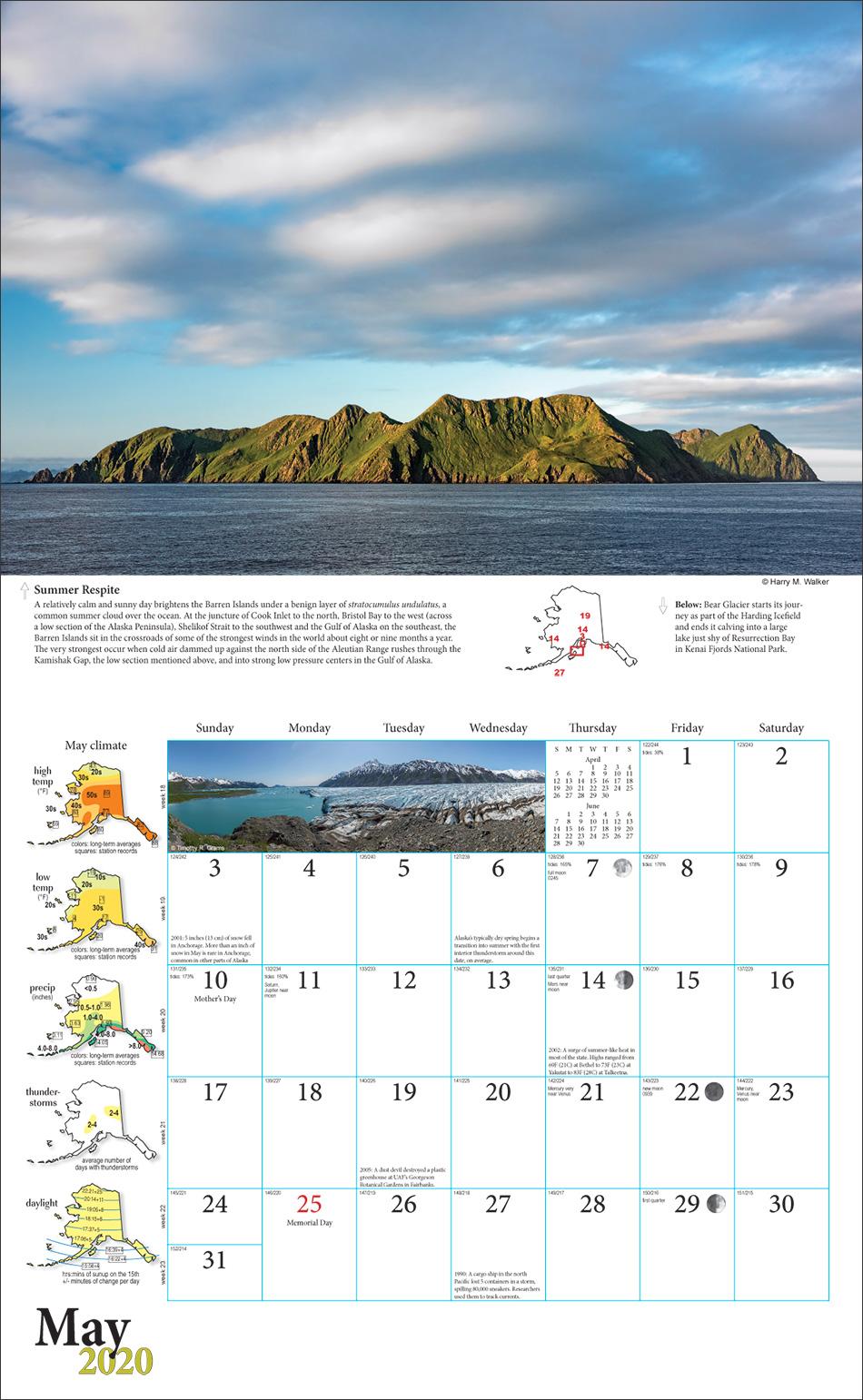 2020 Alaska Weather Calendar inside view