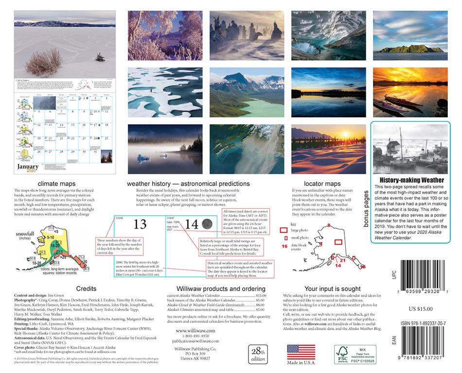 2020 Alaska Weather Calendar back cover view