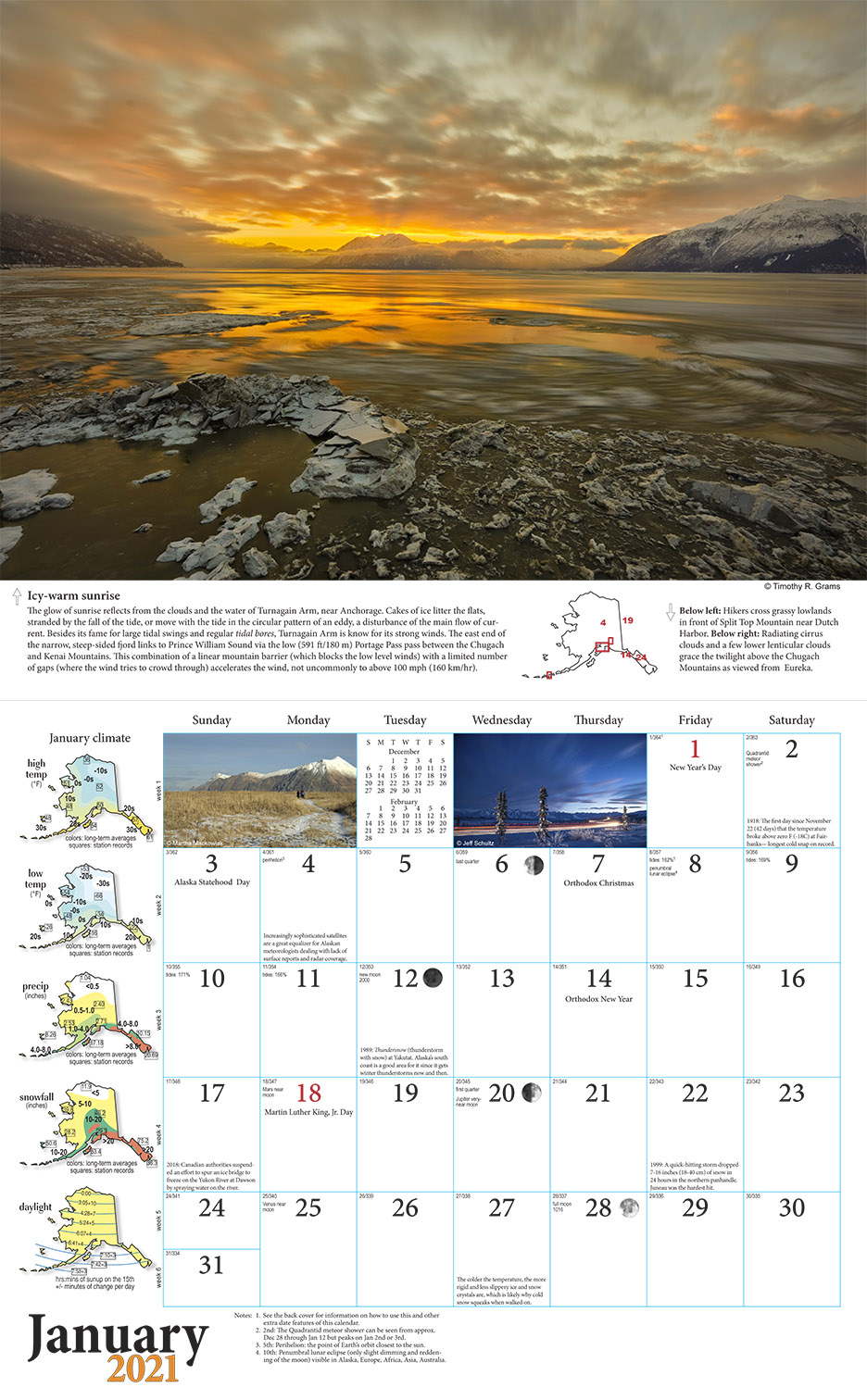 2021 Alaska Weather Calendar inside